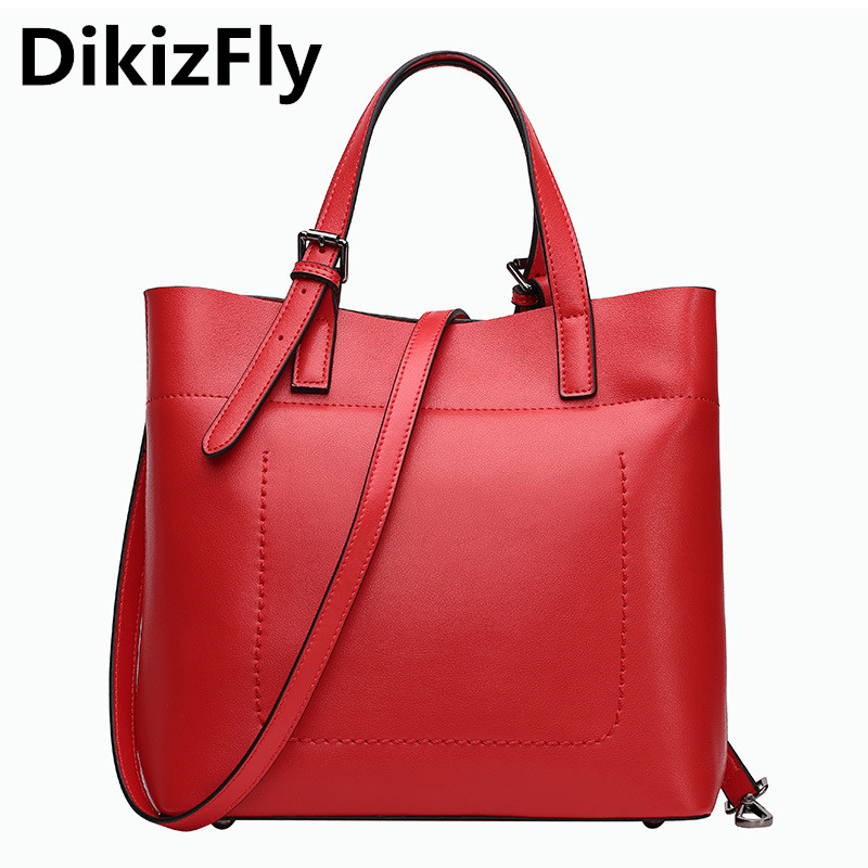 DikizFly luxury handbags women bags designer women Genuine leather handbag Casual totes bolsas feminina messenger bag sac a main 2017 new women shoulder bags solid pu leather handbags ladies brand designer bucket handbag purse bolsas feminina casual totes