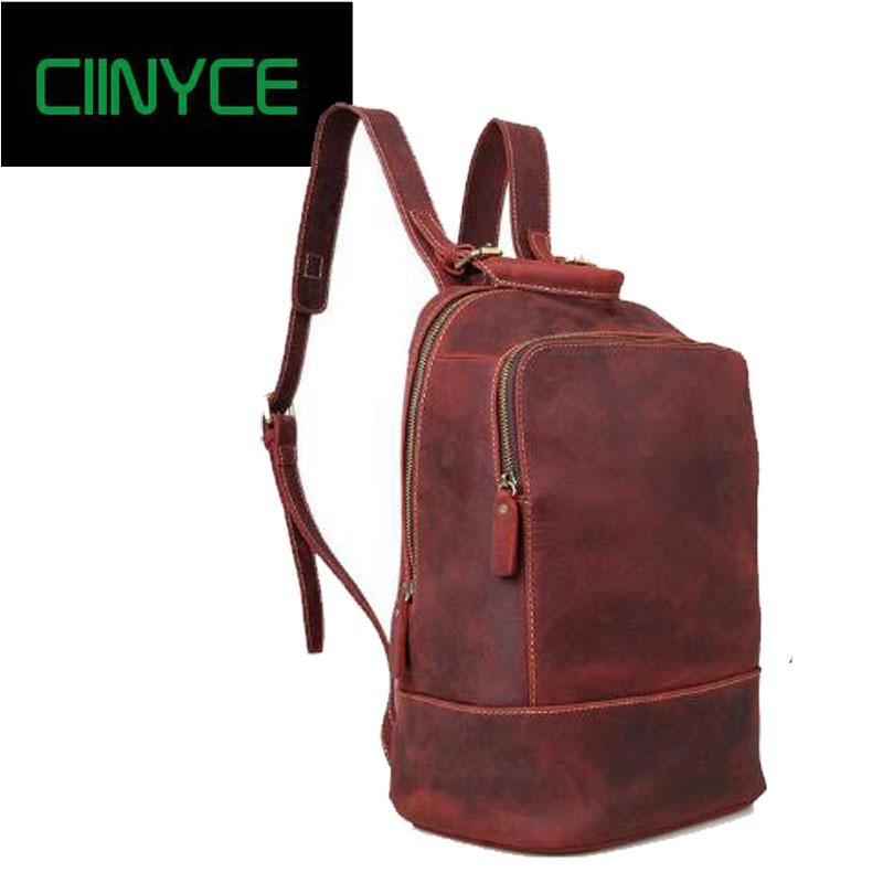 Men Backpacks Crazy Horse Genuine Leather Men Bag Men's Travel Bag Leather 14inch Laptop Backpack School Backpack for Teenager