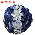 100% Потрясающие Синий Свадебные Букеты Кристалл Холдинг Искусственные цветы Свадебный Букет Шелковый Невесты Ювелирные Изделия Букет W228