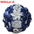 100% Stunning Navy Bridal Bouquets Crystal Holding Artificial flowers Wedding Bouquet Silk Bridesmaid Jewelry Bouquet W228