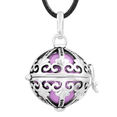 Беременность подарок для ребенка из черненого Медь в форме металлической птичьей клетки кулон ангел абонент Подвески 20 мм Музыкальный шар, гармония Bola кулон Цепочки и ожерелья H119 - Окраска металла: Lilac