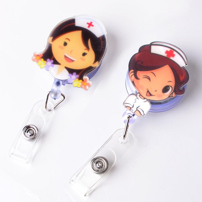 1PC Cute badge reel id holder retractable badge holder cartoon Student nurse lanyards id badge holder Clip Name card holder стоимость