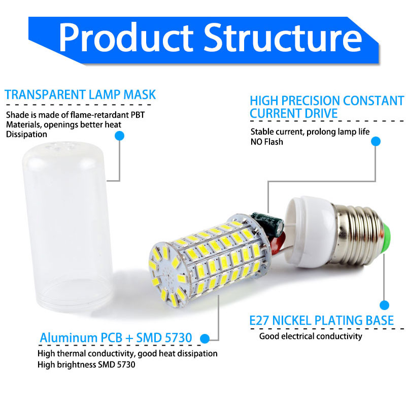 LED Bulb E27 E14 220v 110v 24~99LEDs Lampada LED Lamp Corn Light 5W 7W 9W 12W 15W 18W Warm Cold white Bombilla Ampoule Lamparas