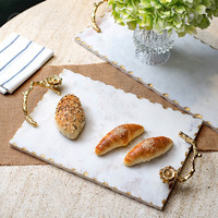 Cocostyles InsFashion high class white marble seving tray with gold handle for royal style home and five star restaurant decor