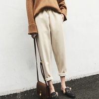 Winter Harem Pants Women 2017 New Hot Fashion Female Casual Loose Warm Thick Ankle Length Wool
