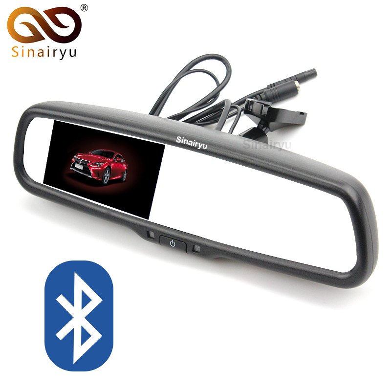 Original Bracket 4.3 Inch 800*480 Car RearView Mirror Rear View Monitor 2 Video Input For Rear Camera + Bluetooth/FM/Speaker/Mic universal 4 3 inch rearview mirror with fm transmission and bt car rear view camera rv 430bf mirror monitor with fm and bt