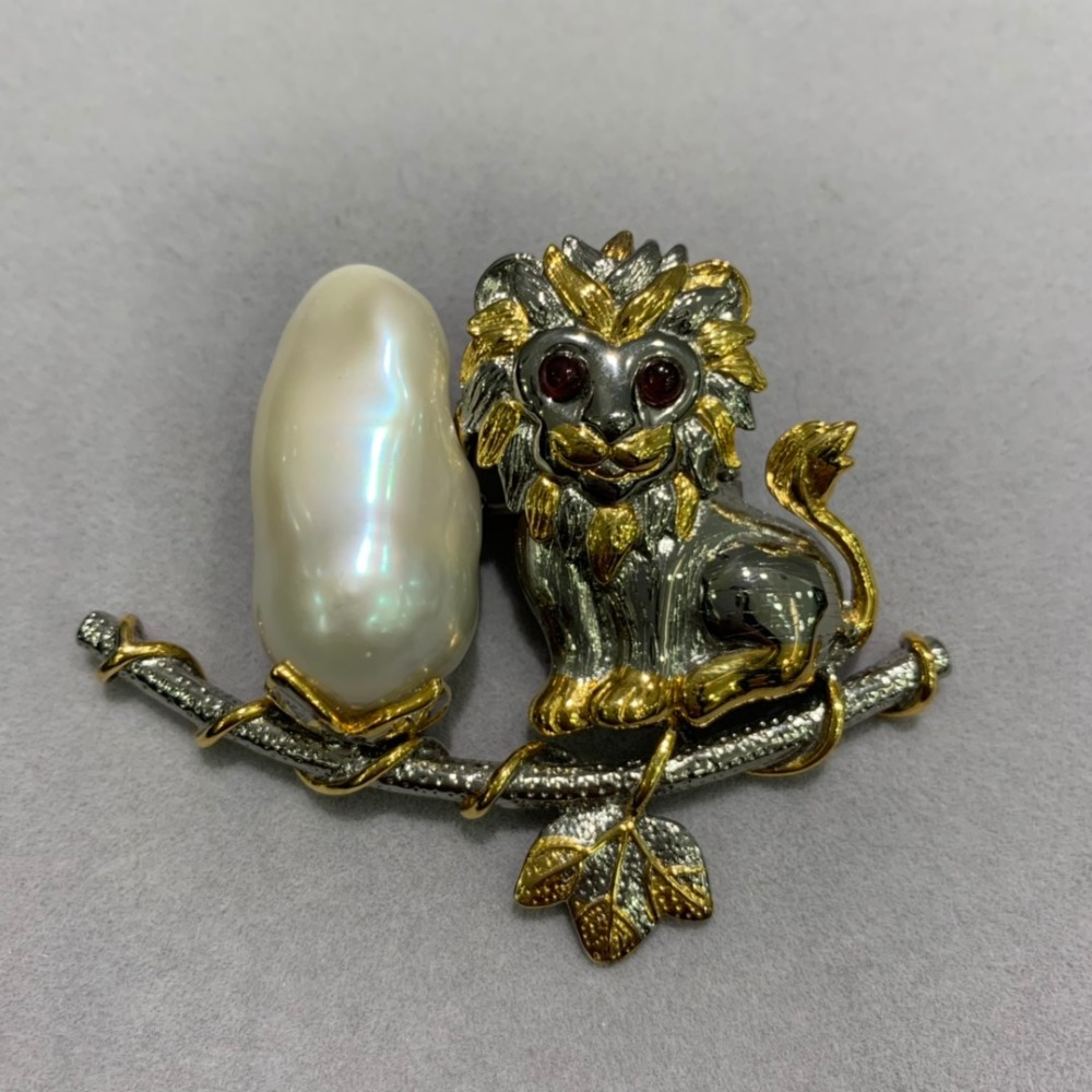baroque natural fresh water pearl brooch & pendant double use animal lion 925 sterling silver vintage only 1 piece fashion
