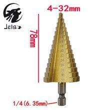 Jelbo Tools 4-32MM Drill Bit Step Drill Bit Power Tools Step Cone Drill Bit Taper Hex Titanium Hole Cutter HSS for Sheet Metal