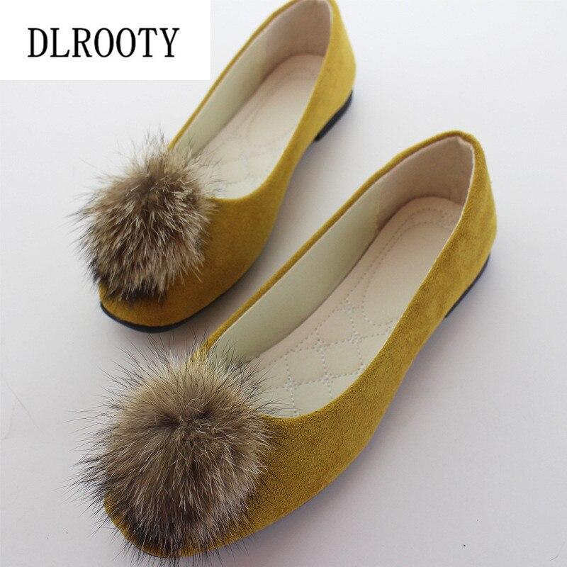 Grandes Mulheres do Tamanho Apartamentos Sapatos Mocassins Inverno Quente 2018 Cores Da Moda Doces Casuais Deslizar Sobre Confortáveis Plus Size 35 Rasa -42