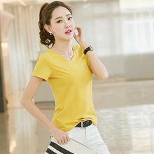 Fresh girl style solid color V-neck slim bottoming shirt multi-color multi-code cotton casual t-shirt free shipping