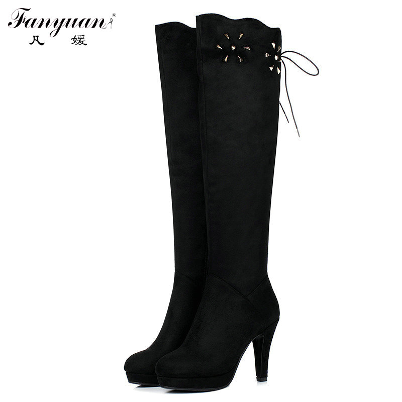 ФОТО Women's Autumn/Winter Elegant Shoes 2017 Flock with Appliques Side Zip Boots Female Spike High Heel Riding Black Knee High Boots