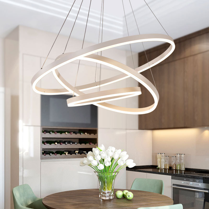 new design clizia suspension lamp handcraft colorful gradient acrylic flower led pendant light bedroom dining room hanging light New Modern LED Pendant Light Aluminum Acrylic Ring Circle Lamp Hanging Ceiling Fixtures For Home Living Room Bedroom Dining Room