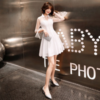 Full Sleeve Cocktail Dresses Shining Sequined Bow white Party Dress Lace A line Zipper Back Knee Length Formal Prom Gown E327