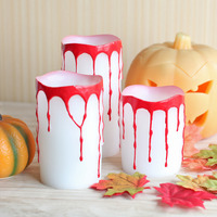 Give U Bleeding Halloween Candles,Keeping Bright ,5 Hours Auto Timer,Battery Operated, 3x4/5/6 Inches, Pack of 3