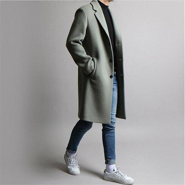Осень поярок пальто новая Повседневное утолщаются смеси Модные свободные длинные пальто Термальность Однобортный ветровка пальто для Для мужчин A4082