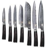 XYj Кухня Пособия по кулинарии Ножи Дамаск ножи VG10 Core 7 шт наборы японский Дамаск Сталь Кухня Пособия по кулинарии Инструменты Новое поступле