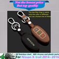 For N1ssan X-trail xtrail 2014 2015 2016 car Stick styling cover Leather keys key Chain bag cases Graffiti frame lamp ring 1pcs