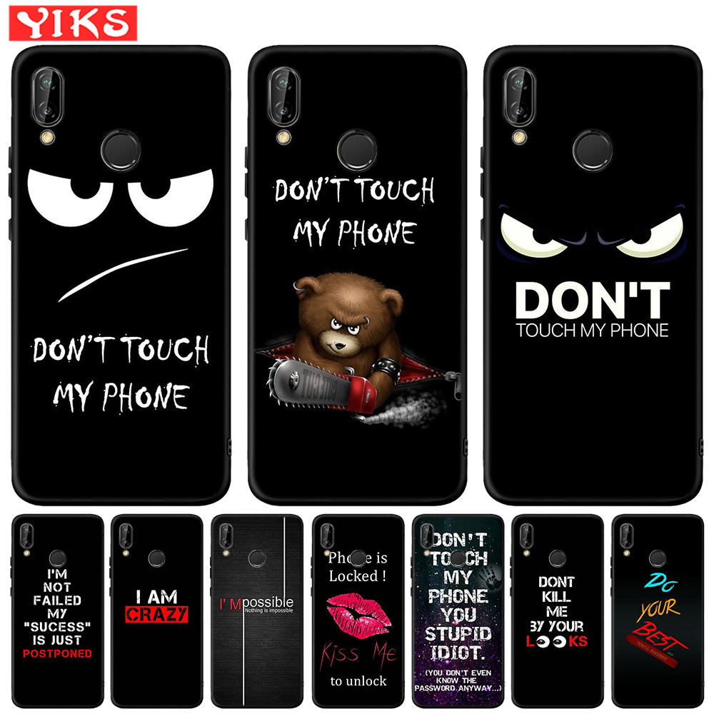 Simple Letter Black Silicone Case For Huawei Mate 10 20 P8 P9 P10 P20 <font><b>30</b></font> <font><b>Lite</b></font> Plus Pro 2017 Don't Touch My Phone Case Coque Etui image