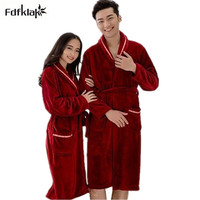 Womens robe 2017 new flannel robe feminino winter warm couples bathrobes long nightgown robe dressing gown pink/red Q775