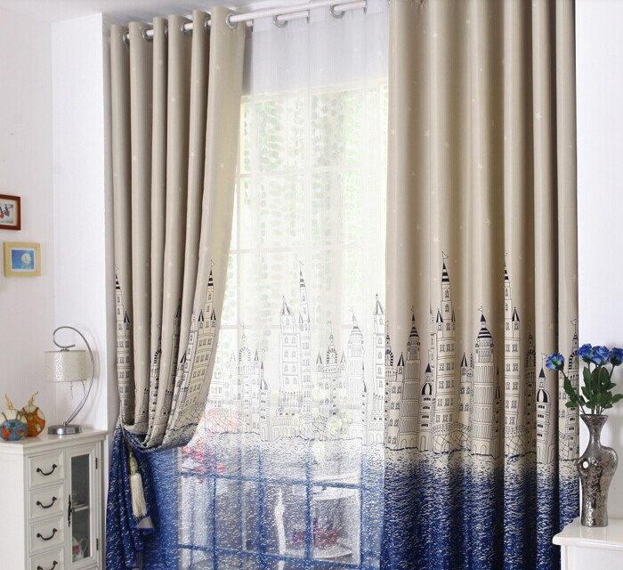 Hight quality Cartoon style Castle pattern shade cloth customize finished Curtain
