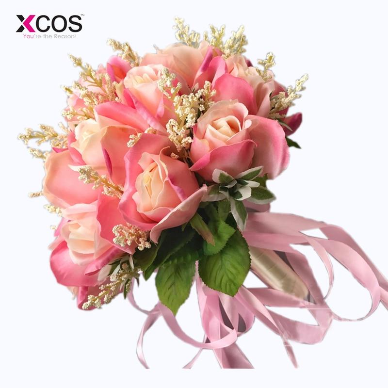 Bruidsboeket Hoge kwaliteit ivoorroos Gooi bruiloft 18 bloemen - Bruiloft accessoires - Foto 4