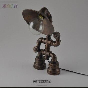 журнальный столик арт деко | Чердак промышленные настольные лампы девять Кафе Ретро водопроводные трубы американская творческая личность железная лампа робот LU825458