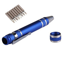 Multi-function precision eight-in-one screwdriver set with magnetic mini portable aluminum tool pen