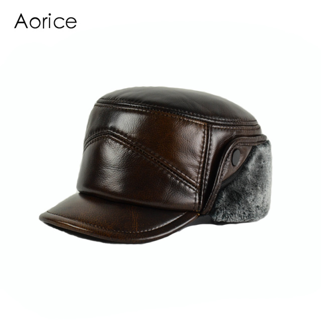 b6d408dffba Aorice Genuine Leather Baseball Cap Hat Men s Winter Brand New Real Leather  Hats Caps With Ear