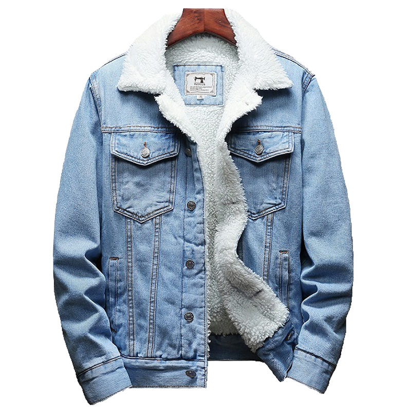 2020 Winter New Thick Warm Fashion Boutique Solid Color Men's Casual Denim Jacket / Male Wool Denim Coat Large Size S-6XL