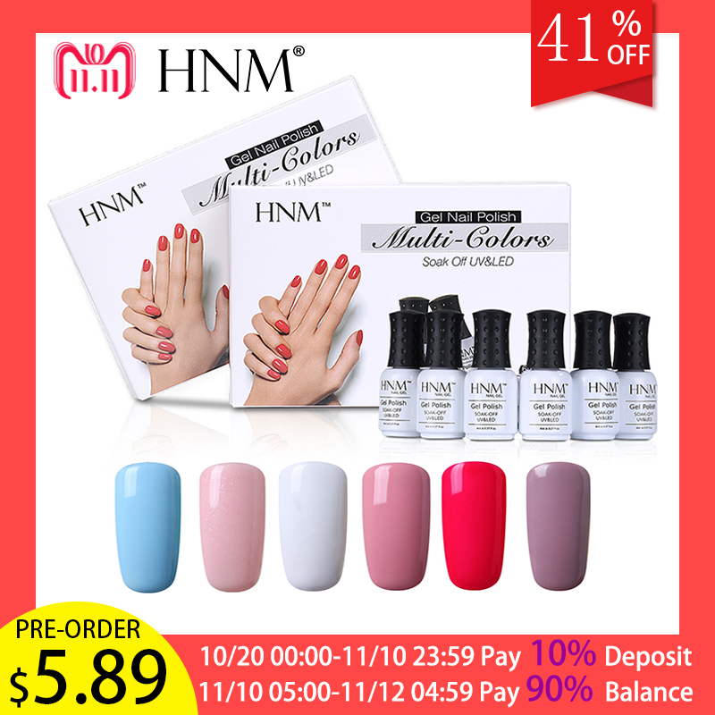 HNM LED Lamp UV Gel Nail Polish 6 Classic Solid Color for Choosing Soak Off Lucky Lacquer Nail Art DIY Gift Box Painting Gellak pink solid color off shoulder crop bodycon sweaters vests