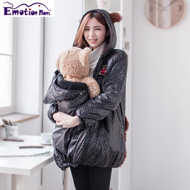 Emoción Mamás Calientes Del Invierno Más Tamaño A Prueba de Viento Chaqueta de Abrigo de Outwear Pregant Enfermería Tops Ropa de Maternidad de Maternidad Bebé Portador
