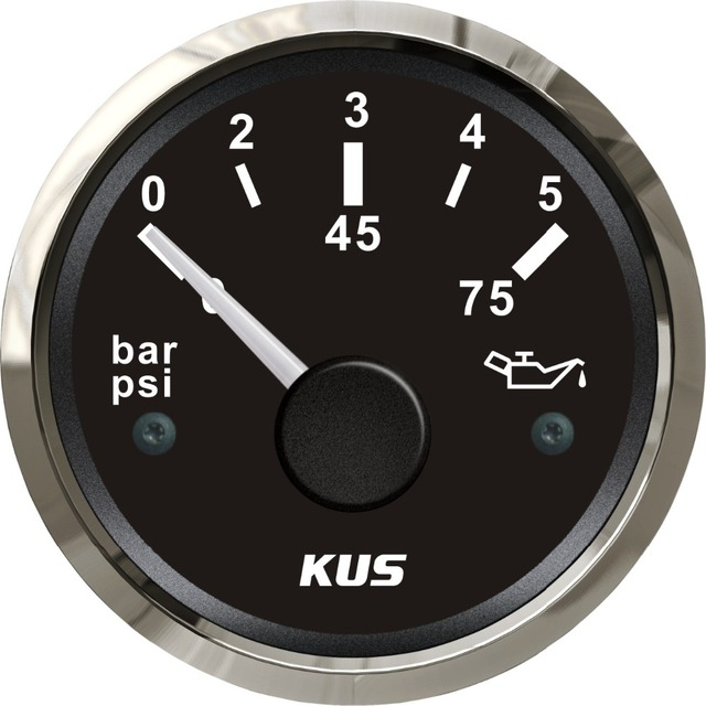 KUS 52mm Universal Boat Engine Oil Pressure Gauge 5Bar 75PSI Marine Outboard Inboard Motor Generator