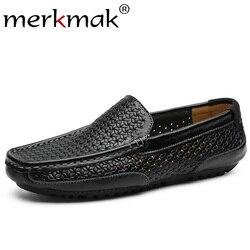 256050504 Merkmak Homens Verão Mocassins Tecelagem Oco Sapatos de Couro Deslizamento  Em Sapatas de Vestido dos homens