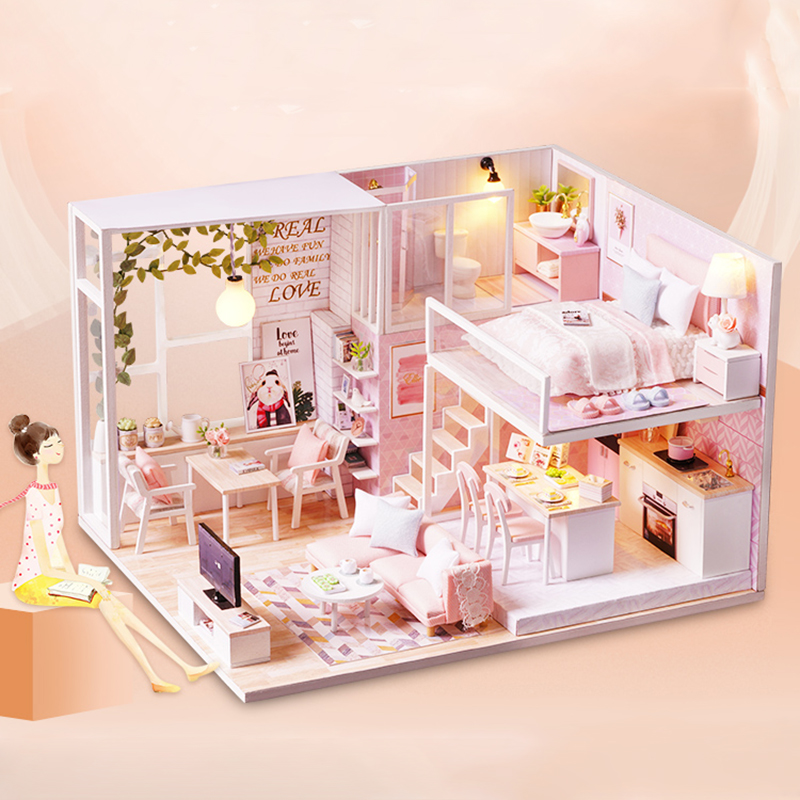 New Furniture Doll House Wooden Miniature DIY DollHouse Furniture Kit Assemble with Dust Cover Doll Home Toys For children l022New Furniture Doll House Wooden Miniature DIY DollHouse Furniture Kit Assemble with Dust Cover Doll Home Toys For children l022