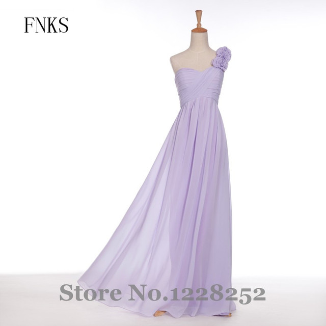 US $103.0 |Chic Lilac Bridesmaid Dresses One Shoulder Beaded Flowers Plus  Size Bridesmaid Dress Chiffon Long Party Dresses Real Images-in Bridesmaid  ...