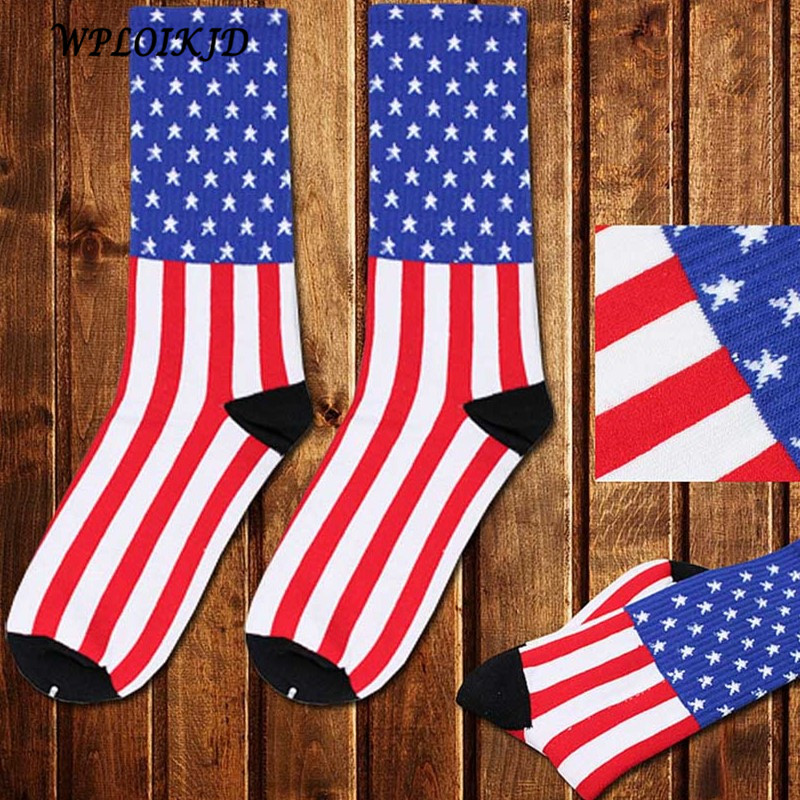 [WPLOIKJD]Men Cotton Socks Striped And Stars Flag Socks Newly Europe The United States High Quality Breathable