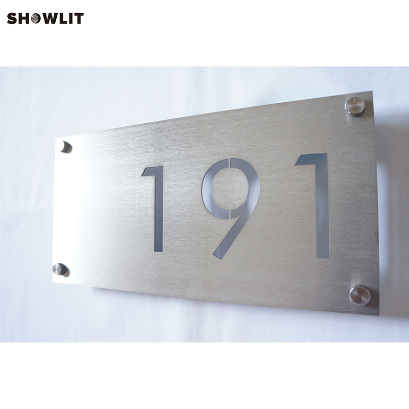 Waterproof Outdoor House Number Sign Brushed Finish aluminum house number door sign plaque brushed finish
