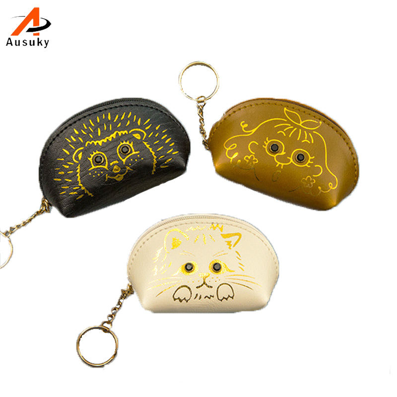 Women Coin Purses Girl Animal Mini Leather Bag Key Ring Case Zipper Wallet Lovely Diamond Cat eye Face Pouch Change Purse 45