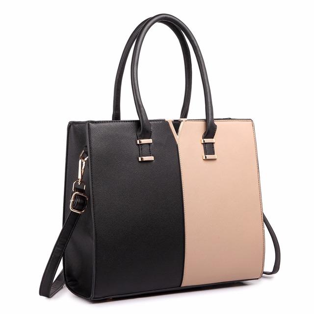 Miss Lulu Women Fashion Designer V Shape Patchwork PU Leather Handbag Shoulder Tote Cross Body Satchel Bag Navy And White LT1666