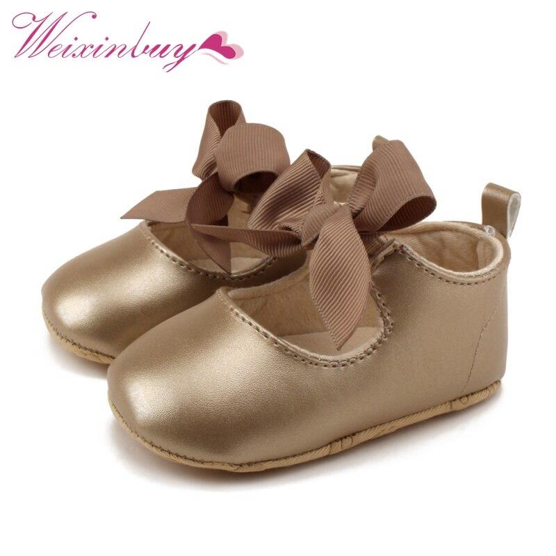 Fashion Toddler Baby Girl Soft PU Shoes Bow Bandage Infant Princess Prewalker 0-18M