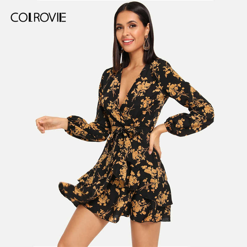 98130f1066 COLROVIE V-Neck Floral Print Belted Wrap Party Dress Women 2019 Spring  Fashion Long Sleeve