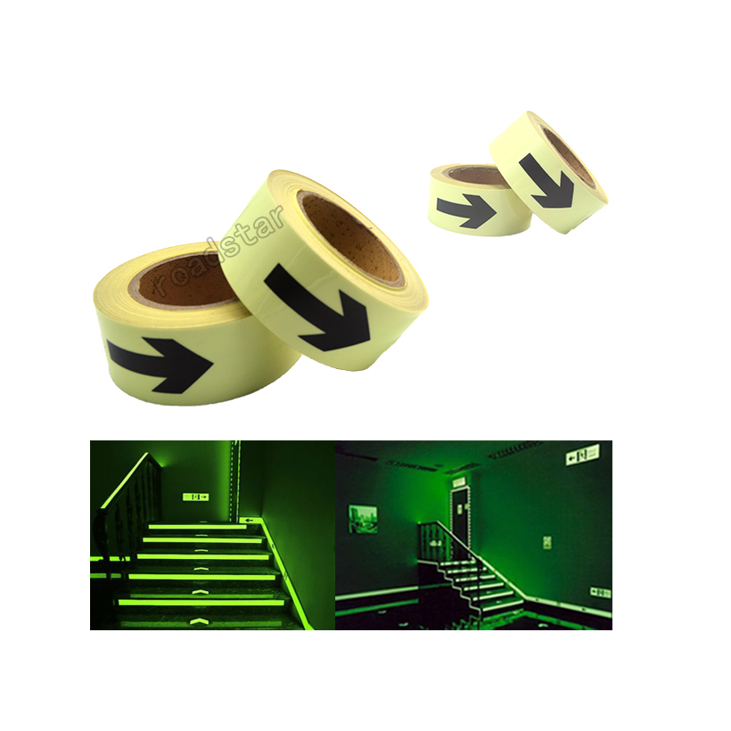 5CM X 10M Hot sell 5cm width glow in the dark tape lasting 4 hours wiht arrow printing for safety guiding
