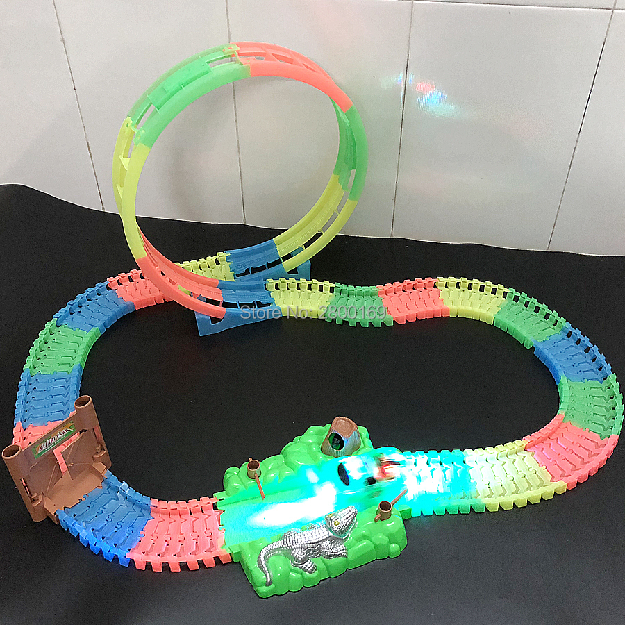 Magic Twister flexible Track 360 stunt Loop Racetrack That Can Bend,Flex and Glow DIY Assembly Luminous Track with LED Race car