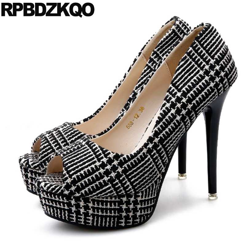6281e3d4e51 Stiletto Super Women Fish Mouth Shoes Black Peep Toe High Heels Platform  Size 4 34 Suede Cheap Extreme Ultra 12cm 5 Inch China