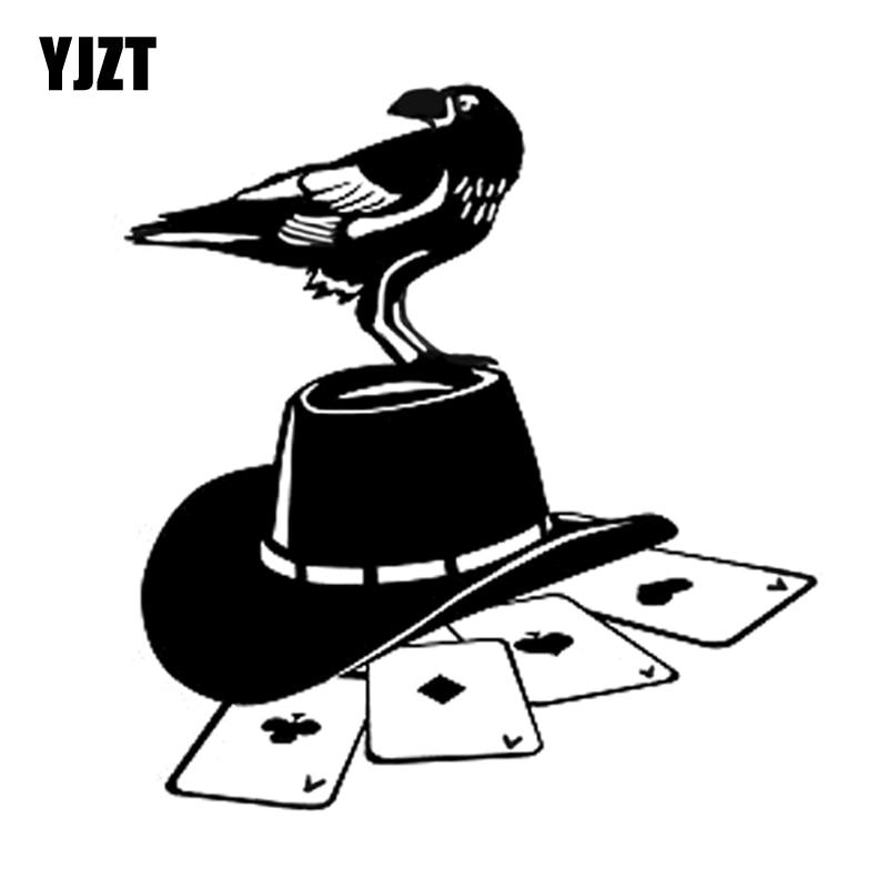 YJZT 16.2*16.9CM Interesting Crows And Hats Poker Games Sticker High Quality Graphic Car Sticker Vinyl C12-0017