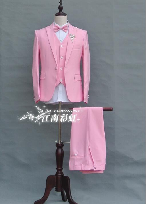 Pink red clothes men suits designs masculino homme terno stage costumes for singers jacket men blazer dance star style dress