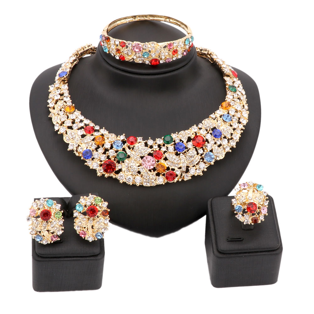 Women Party Bridal Fine Colorful Rhinestone African Beads font b Jewelry b font Sets For Wedding