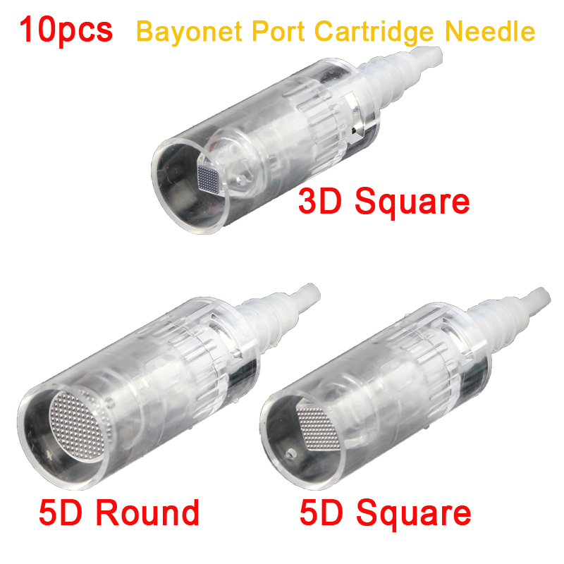10pcs/lot Mezoroller 3D/5D Nano Needle Painless Bayonet Port Cartridge Pins for Electric Derma Pen MYM dr.pen Auto Micro-needle