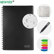 NeWYeS A6 Smart Reusable Notebook Erasable Microwave Heating Waterproof Cloud Storage App Connection Kids Gift Wire Bound Spiral newyes a5 smart reusable erasable notebook paper microwave wave cloud erase notepad lined with pen dropshipping customized gift