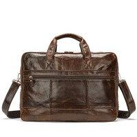 Для мужчин Портфели сумка для ноутбука из натуральной яловой кожи бренд Для мужчин на молнии Курьерские сумки Бизнес 15 дюймов сумка сумки